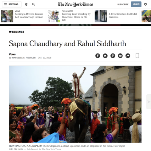 The New York Times Sapna Chaudhary and Rahul Siddharth's Wedding