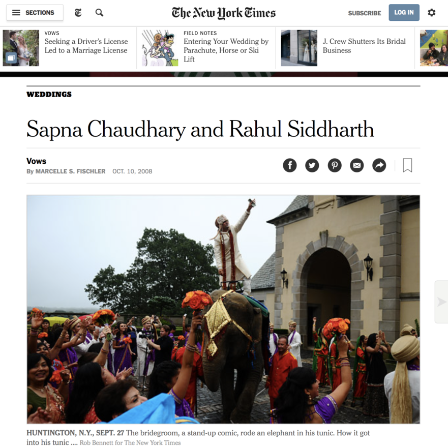 The New York Times Sapna Chaudhary and Rahul Siddharth's Wedding