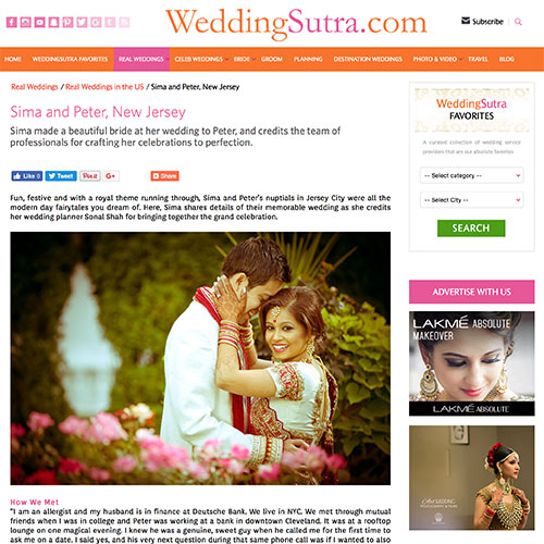 WeddingSutra Sima Peter New Jersey