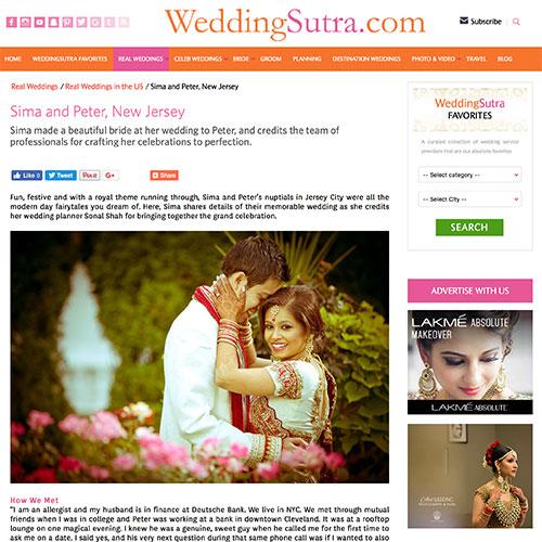 WeddingSutra Sima Peter New Jersey