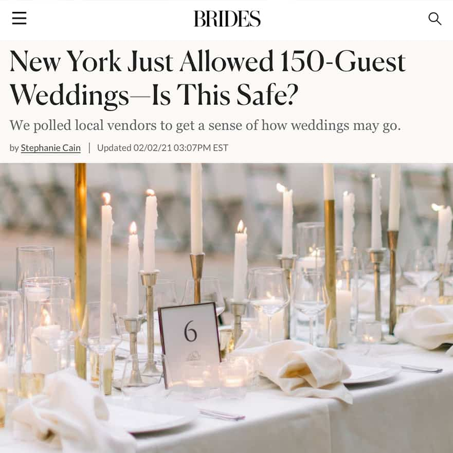 BRIDES New York Just Allowed 150-Guest Weddings—Is This Safe?
