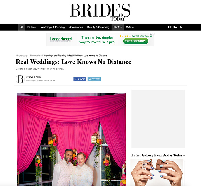 BRIDES TODAY - Real Weddings: Love Knows No Distance