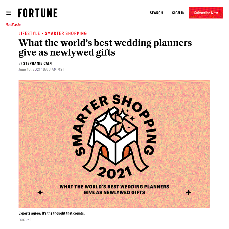 FORTUNE - What the world's best wedding planners give as newlywed gifts