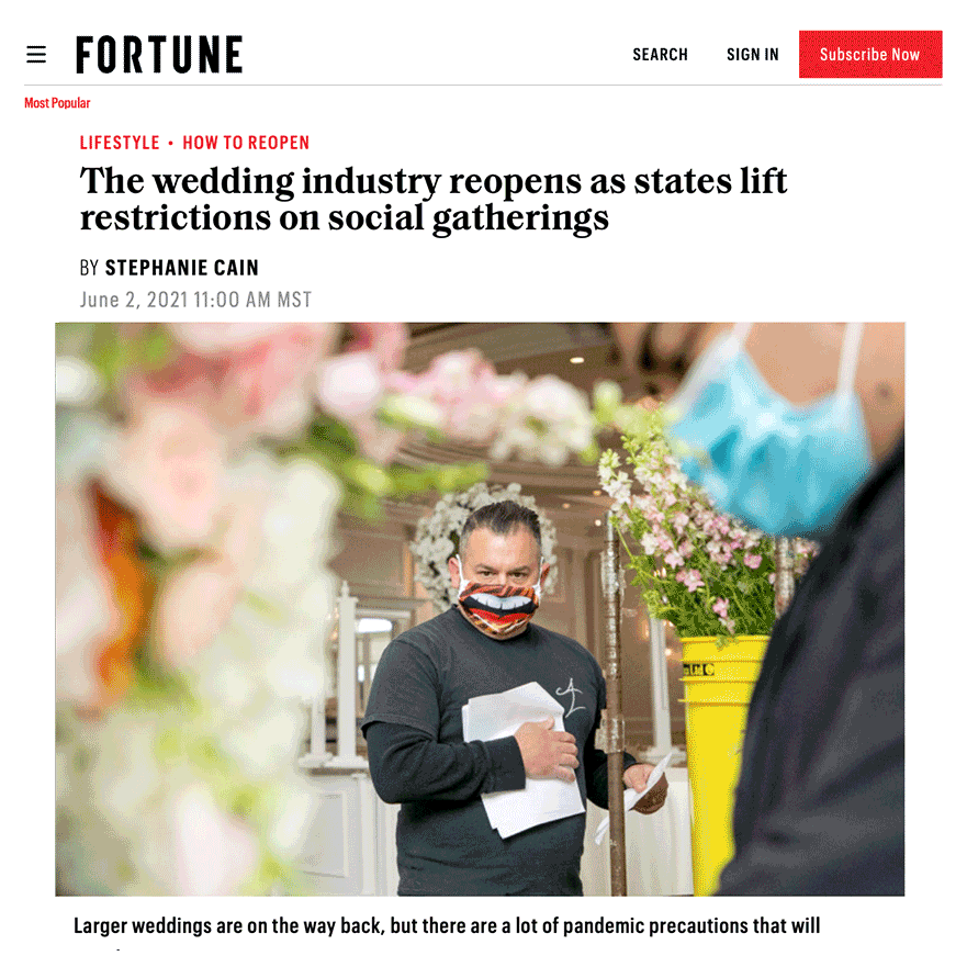 FORTUNE - The wedding industry reopens as states lift restrictions on social gatherings