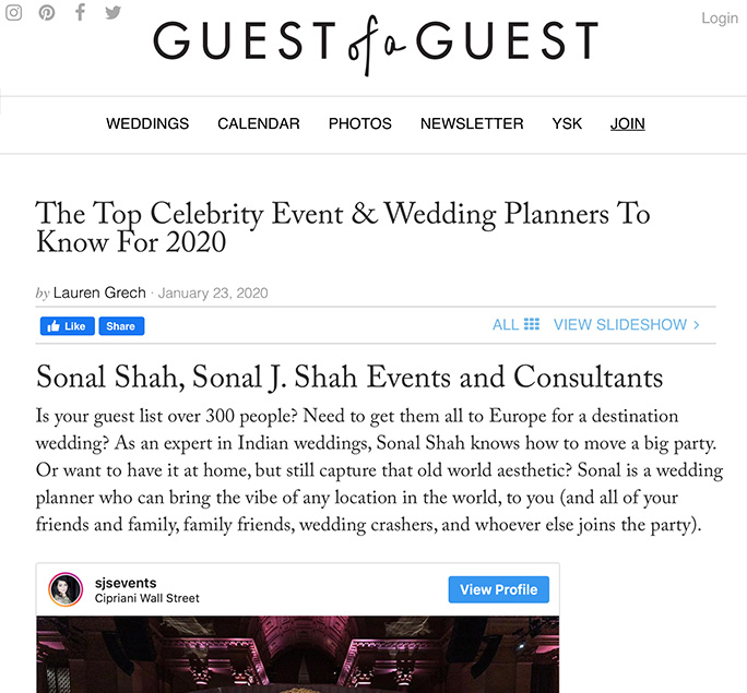 GUEST OF A GUEST – The Top Celebrity Event & Wedding Planners To Know For 2020