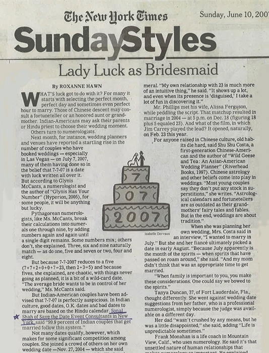 The New York Times Sunday Styles Lady Luck as Bridesmaid