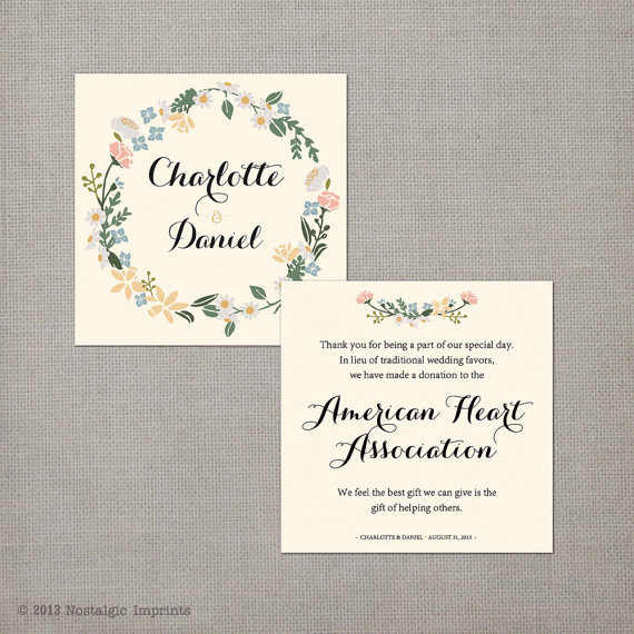 Wording For Money In Lieu Of Wedding Gifts: Donations In Lieu Of Wedding Favors