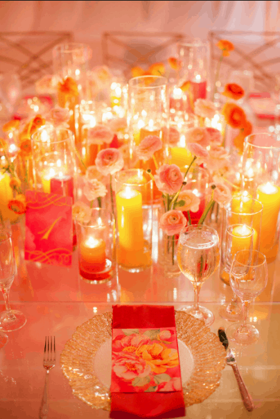 YELLOW RED CANDLE PLACE SETTING