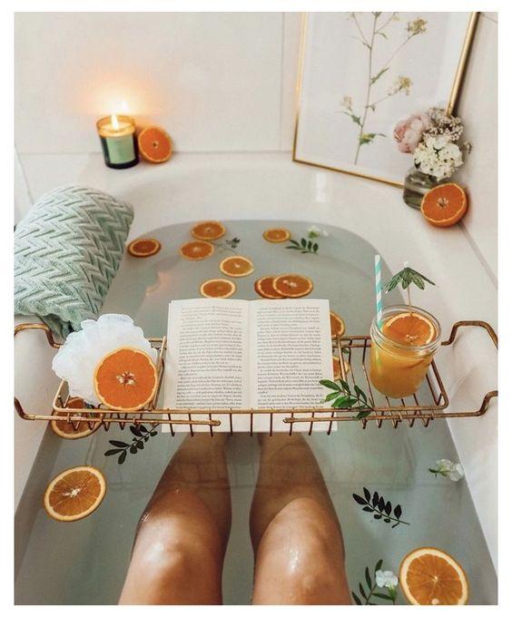 Relaxing aesthetic citrus bath reading book
